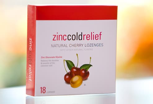 Package of zinc lozenges for cold relief