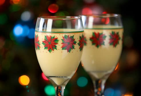 Glasses of holiday eggnog