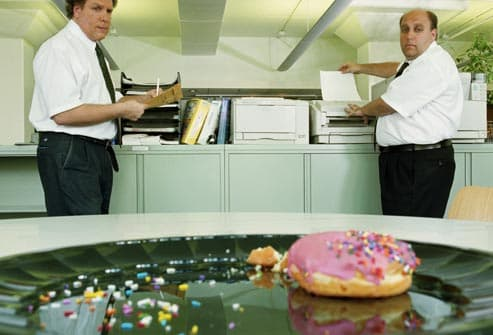 donut on office platter