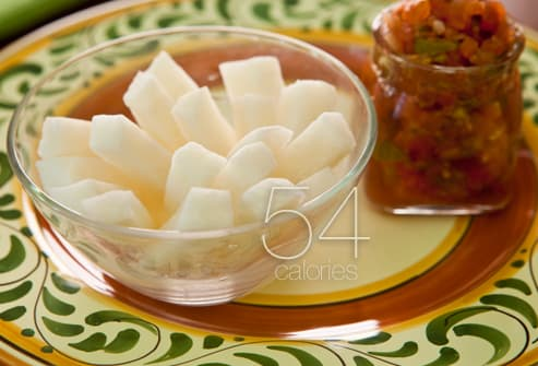 Jicama with salsa snack