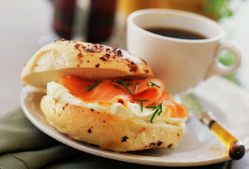 Bagel with lox and coffee
