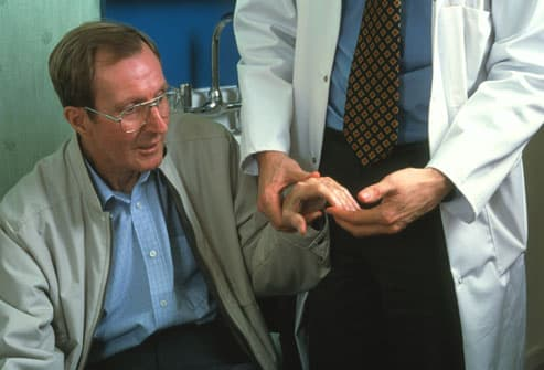 Parkinsons patient getting examined