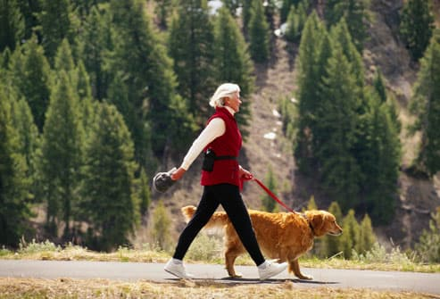 Mature woman walking golden retriever dog
