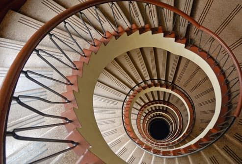 Spiral staircase, overhead view