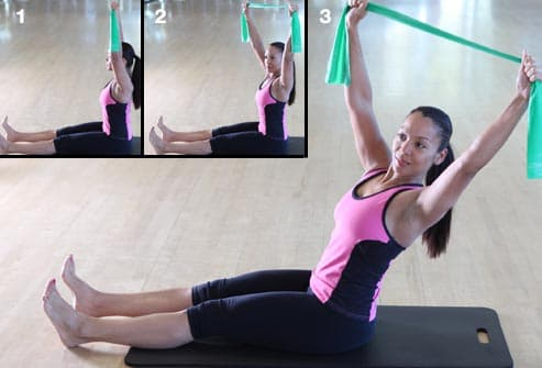 woman doing twist and reach