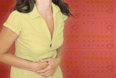 Woman with cramps and calendar