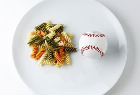 Pasta and baseball on plate