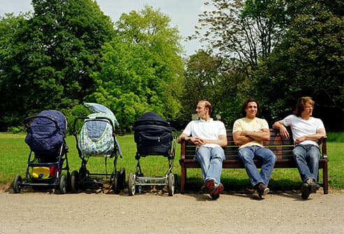 Men with strollers