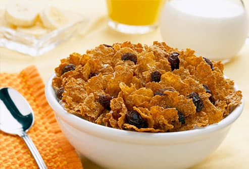 Bowl of bran flakes with raisins