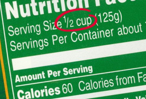 Nutrition label with serving size circled