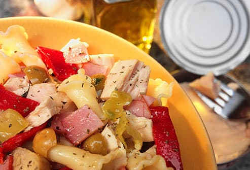 Tuna and pasta salad in bowl