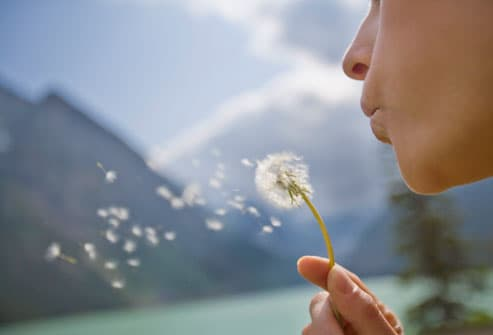 Woman Blowing the Seeds off of a Dandelion