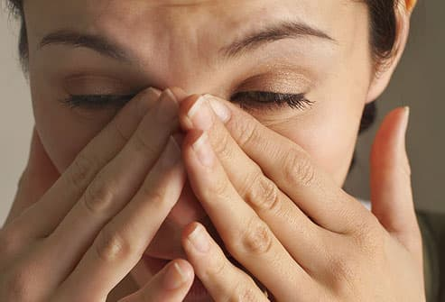 There's usually a nasal discharge that may be yellow, green, or clear.