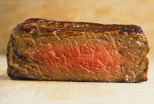 Slab of medium-rare steak, close up