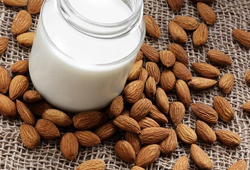 almond milk and almonds