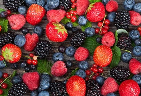 assortment of mixed berries