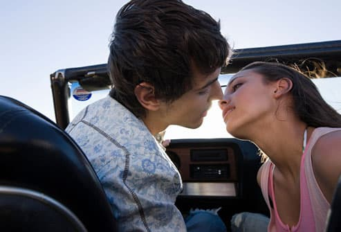 Teenagers Kissing In Car