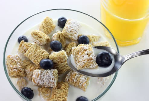 Calcium fortified cereal, milk, and juice