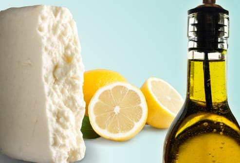 feta cheese with olive oil and lemon