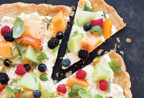 pizza with fruit
