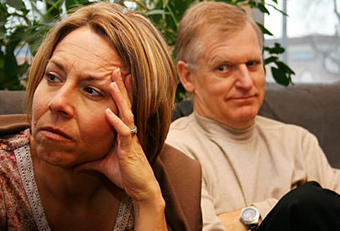 unhappy couple in counseling