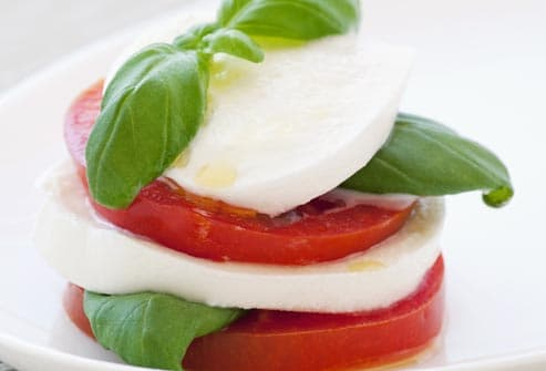 tomato and mozzarella with basil