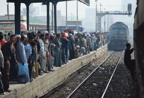 Crowd Waiting For Train