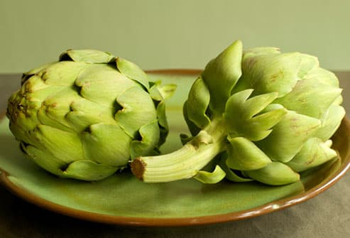 Two Artichokes on Plate