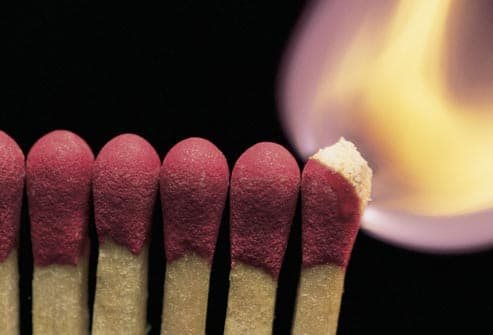 matches aflame