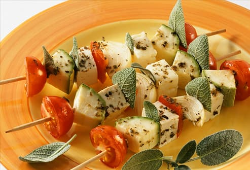 Tofu and vegetable kebabs with sage