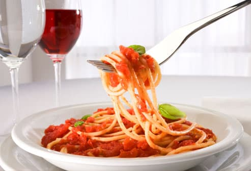 Spaghetti Dinner with Red Wine