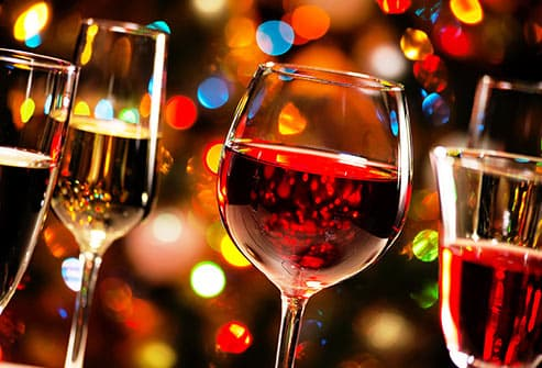 glasses of wine during holidays