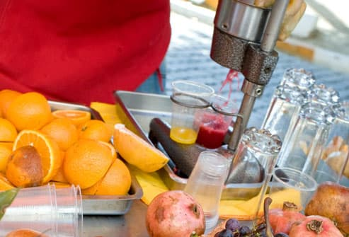 Fresh fruit juice stand