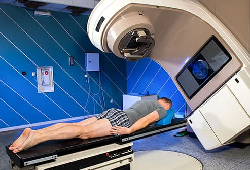 patient undergoing radiation therapy