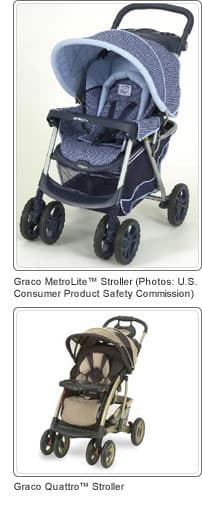 Graco recalled strollers: MetroLite and Quattro