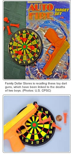 Toy dart gun recalled product