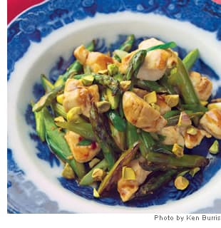 Wok-Seared Chicken Tenders with Asparagus &amp; Pistachios