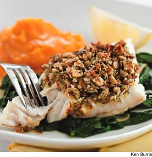 Almond Lemon Crusted Fish With Spinach