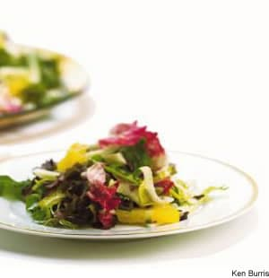 Mixed Lettuce, Fennel, & Orange Salad With Black Olive Vinaigrette
