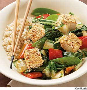 Sesame-Crusted Tofu Over Vegetables