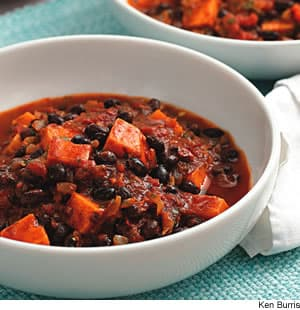 ... vegetarian chili full of black beans and sweet potatoes and eat it for