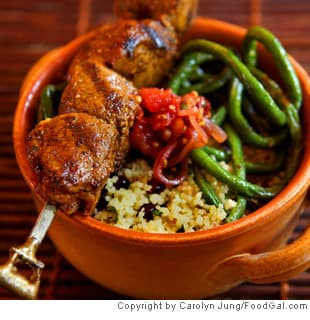 Caribbean Grilled Lamb Skewers With Long Beans