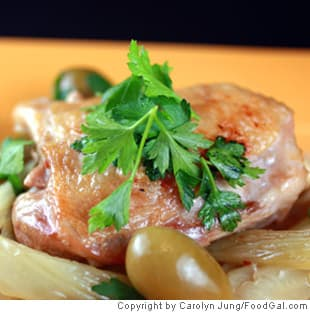 Crispy Braised Chicken Thighs with Olives, Lemon, and Fennel