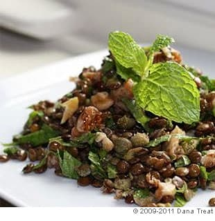 Lentils with Capers, Walnuts, Walnut Oil, and Mint