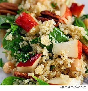 Quinoa Salad With Pears, Baby Spinach and Chick Peas