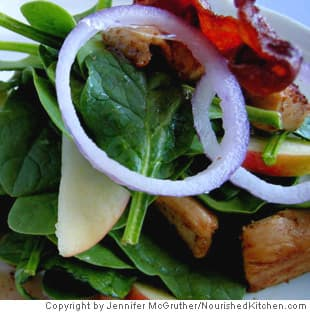 Wilted Spinach Salad With Chicken and Honey Mustard Dressing