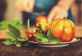 pumkin and tomatoes on a plate
