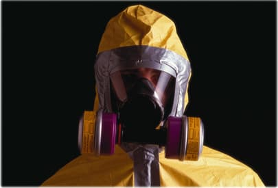Man in hazardous suit