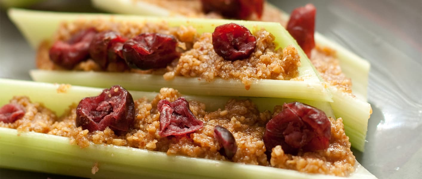 celery with peanut butter and craisins