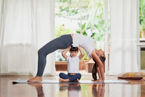 Mother and child working out